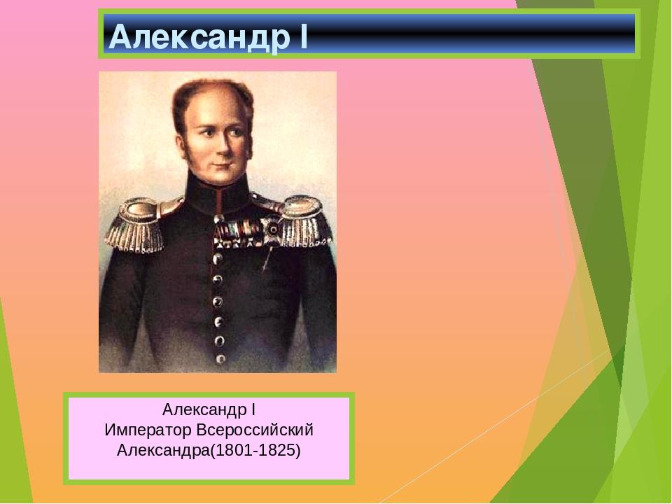 Александр I Александр I Император Всероссийский Александра(1801-1825)