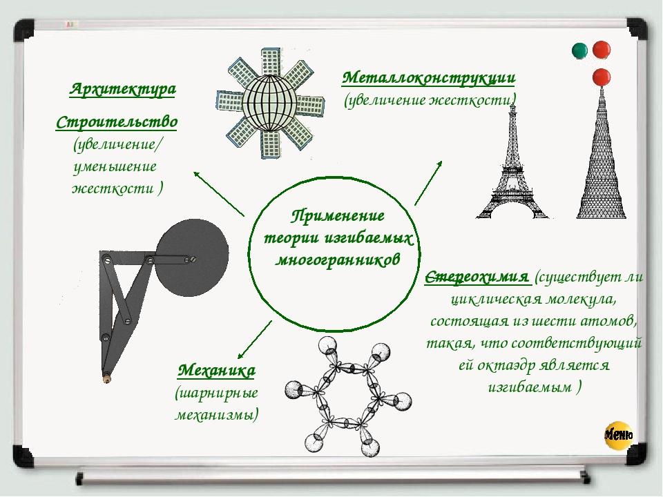 Применение теории изгибаемых многогранников Строительство (увеличение/ умень...