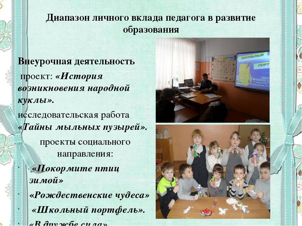 Диапазон личного вклада педагога в развитие образования Внеурочная деятельнос...