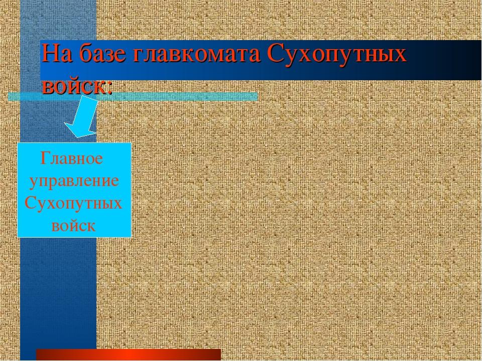 На базе главкомата Сухопутных войск: Главное управление Сухопутных войск