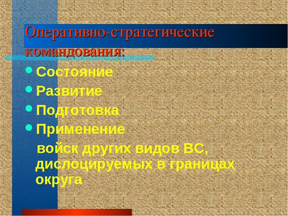 Оперативно-стратегические командования: Состояние Развитие Подготовка Примене...