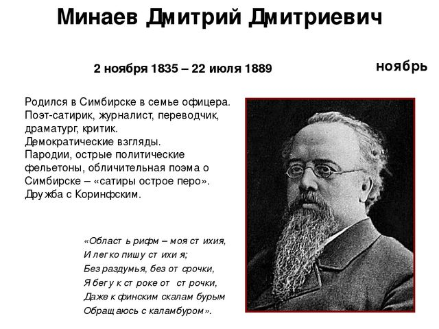 ноябрь Минаев Дмитрий Дмитриевич 2 ноября 1835 – 22 июля 1889 «Область рифм –...