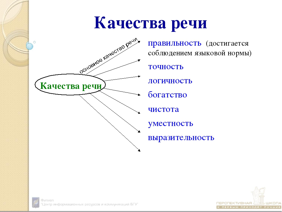 Качества речи Качества речиправильность (достигается соблюдением языковой но...