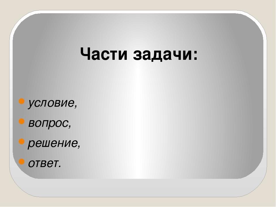 Части задачи: условие, вопрос, решение, ответ.