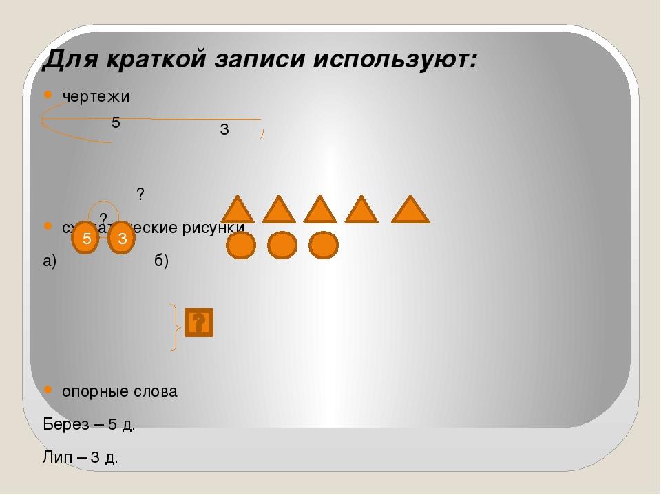 Для краткой записи используют: чертежи ? схематические рисунки а) б) опорные...