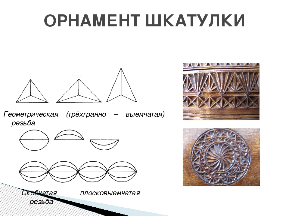 ОРНАМЕНТ ШКАТУЛКИ Геометрическая (трёхгранно – выемчатая) резьба Скобчатая пл...