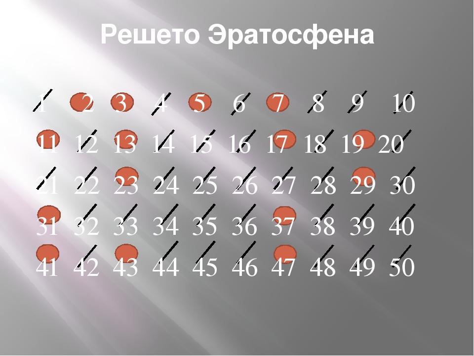 Решето Эратосфена 1 2 3 4 5 6 7 8 9 10 11 12 13 14 15 16 17 18 19 20 21 22 2...