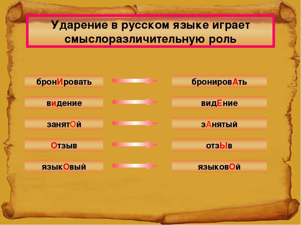 Ударение в русском языке играет смыслоразличительную роль