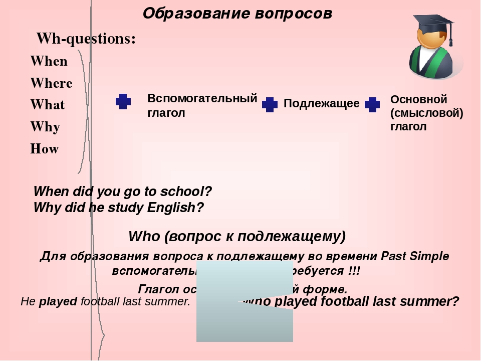 Wh-questions: When Where What Why How Who (вопрос к подлежащему) Для образова...