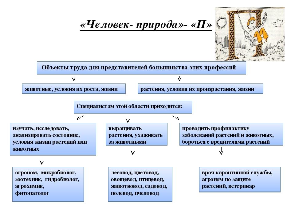 «Человек- природа»- «П» Объекты труда для представителей большинства этих про...