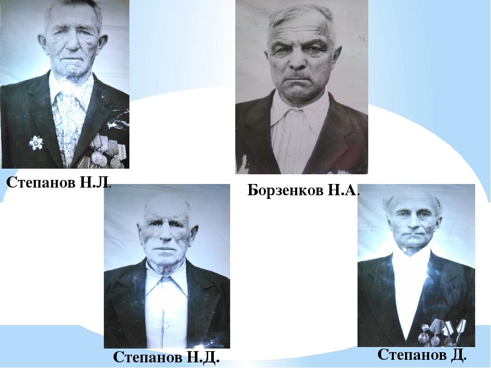 Степанов Н.Л. Степанов Д. Степанов Н.Д. Борзенков Н.А.