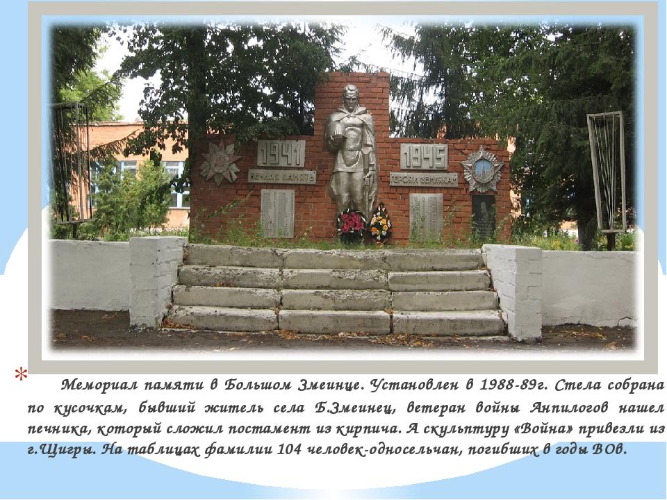 Мемориал памяти в Большом Змеинце. Установлен в 1988-89г. Стела собрана по...