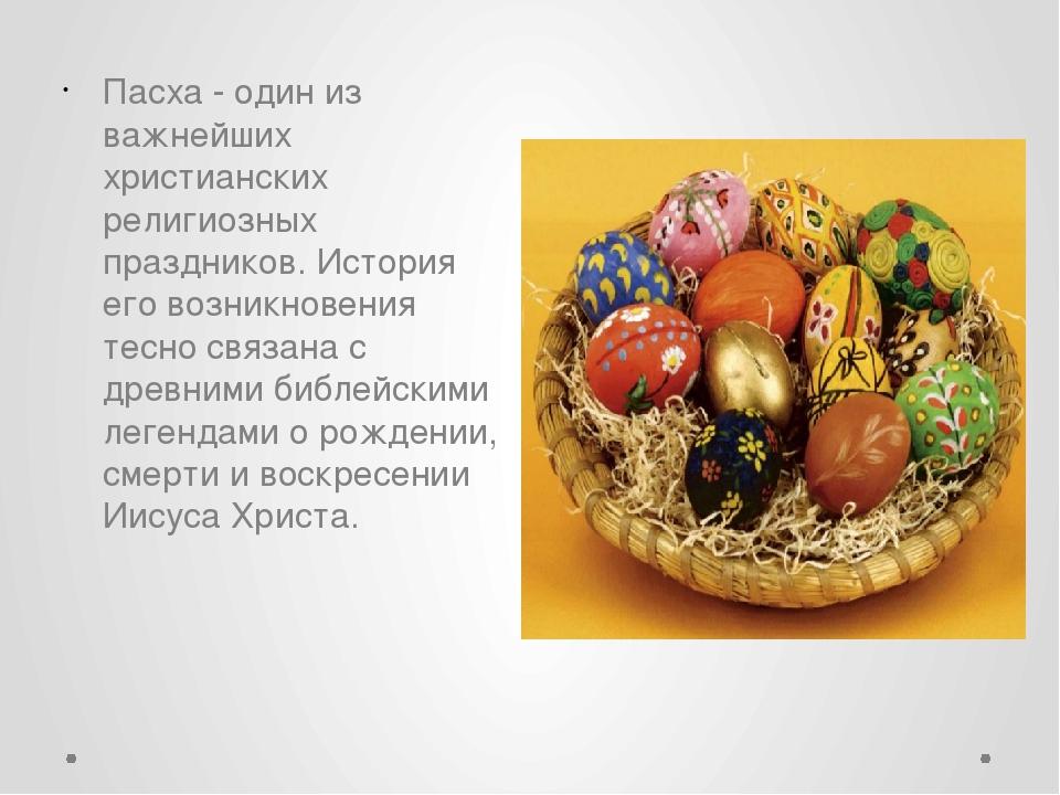 Пасха - один из важнейших христианских религиозных праздников. История его во...