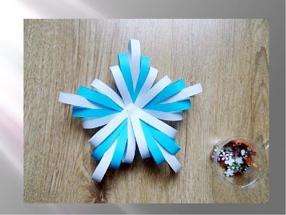 Снежинка своими руками из полосок бумаги