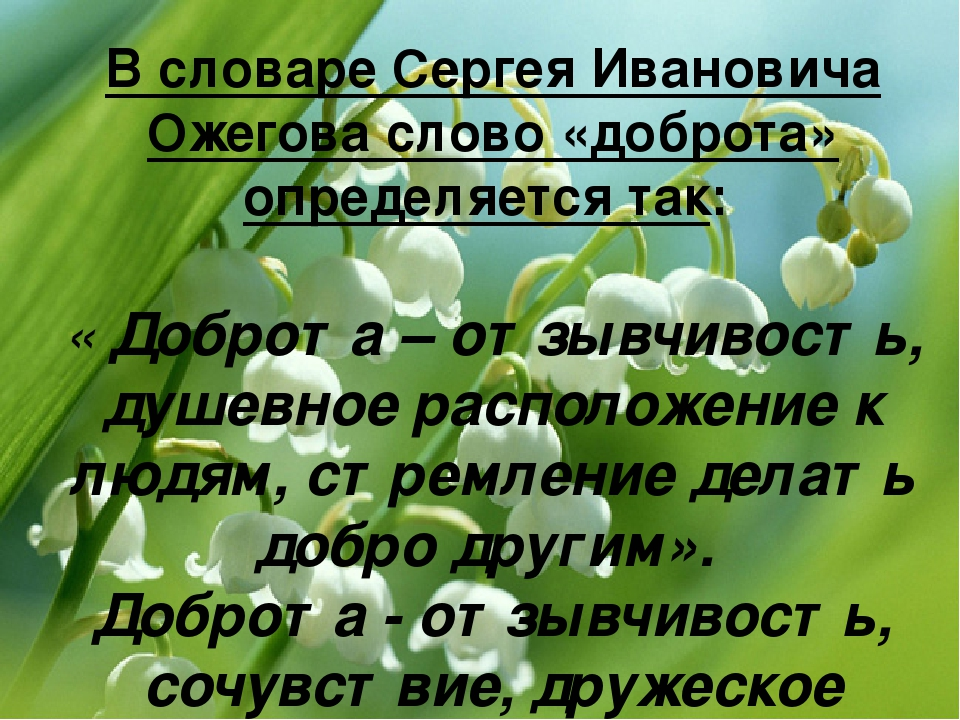 В словаре Сергея Ивановича Ожегова слово «доброта» определяется так: « Доброт...