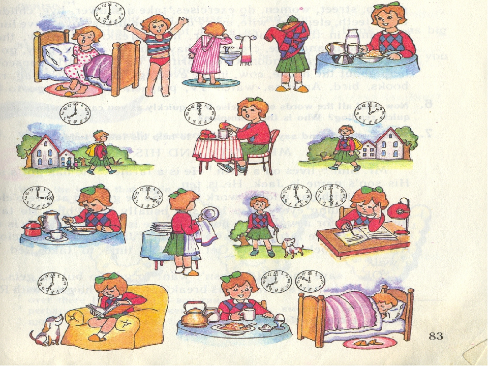 расписание дня на английском картинки его ранних