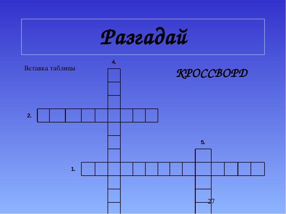 Разгадай КРОССВОРД 4.    2.            5.   1.       ...