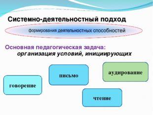 Системно-деятельностный подход Основная педагогическая задача: организация ус