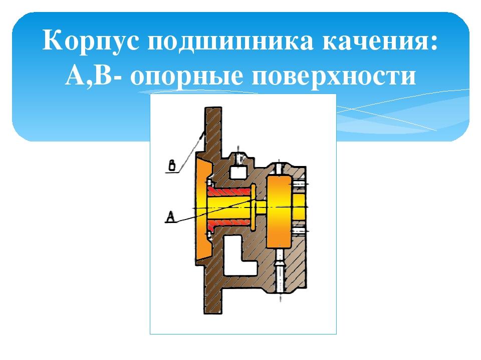 Корпус подшипника качения: А,В- опорные поверхности