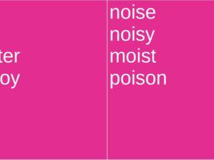 boy toy oyster annoy noise noisy moist poison