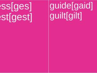 guess[ges] guest[gest] guide[gaid] guilt[gilt]