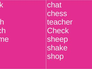 chick chin catch Catch shame fish ship chat chess teacher Check sheep shake s