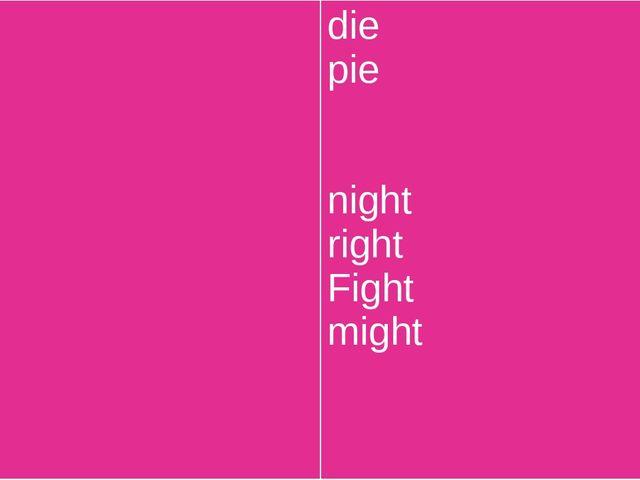 tie lie sigh high sight light die pie night right Fight might