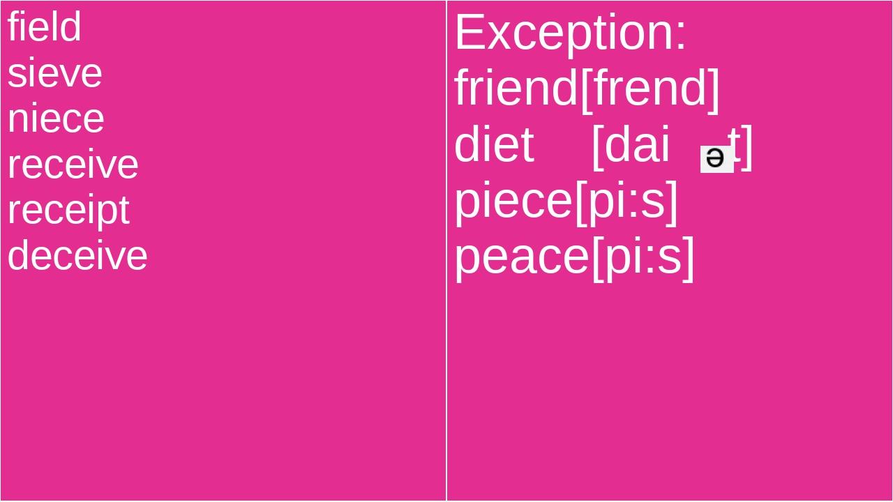 field sieve niece receive receipt deceive Exception: friend[frend] diet[dait]...