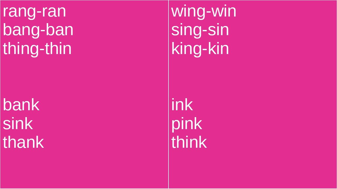 rang-ran bang-ban thing-thin bank sink thank wing-win sing-sin king-kin ink p...