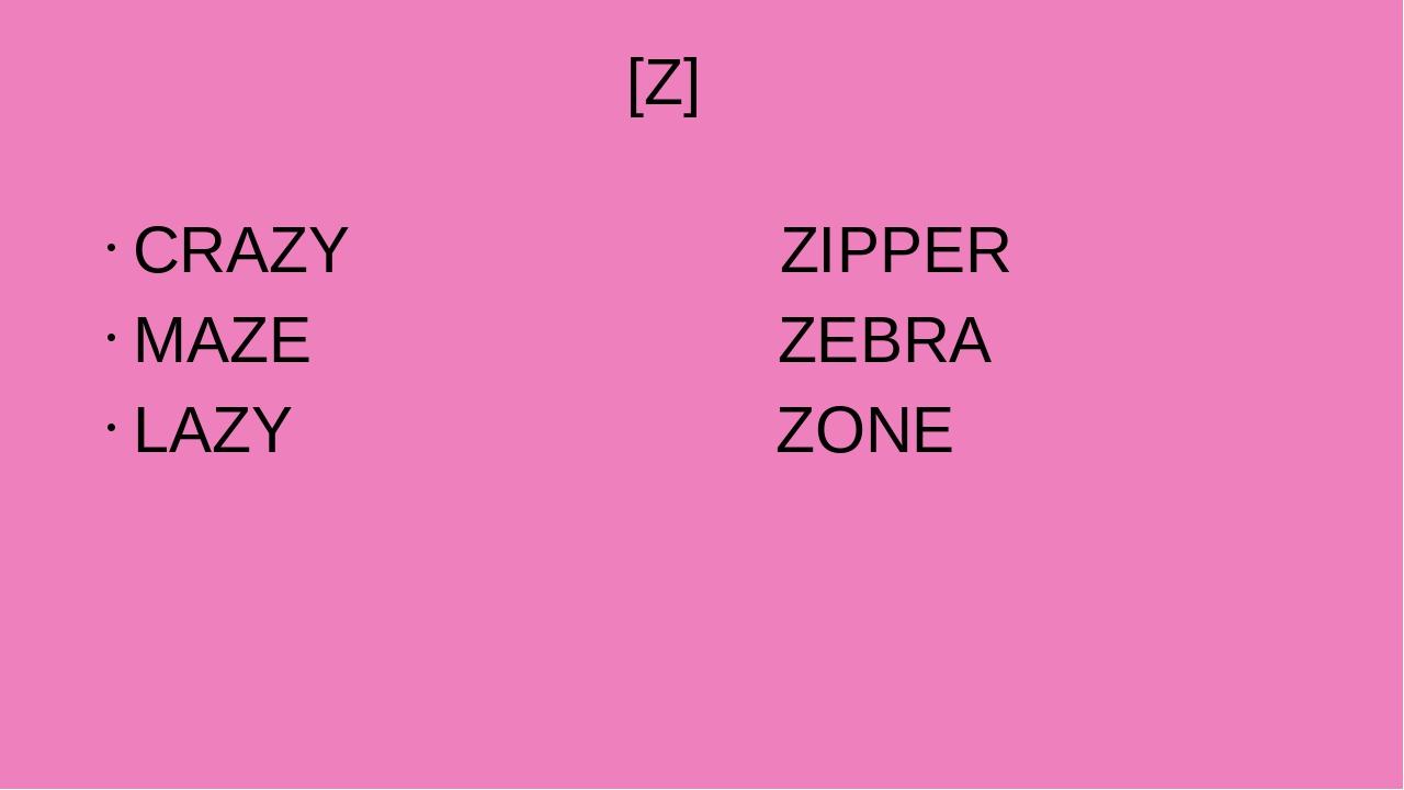[Z] CRAZY ZIPPER MAZE ZEBRA LAZY ZONE