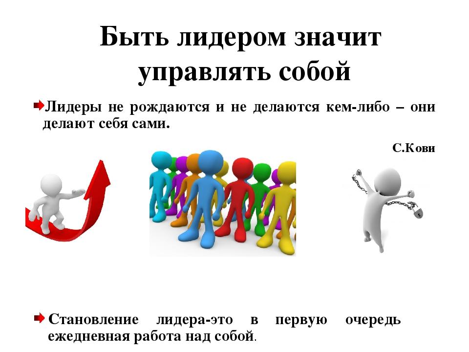 Быть лидером значит управлять собой Лидеры не рождаются и не делаются кем-либ...