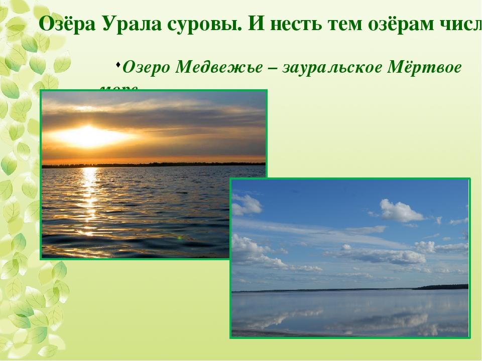 Озеро Медвежье – зауральское Мёртвое море Озёра Урала суровы. И несть тем озё...