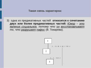 Такая связь характерна: 3) одна из предикативных частей относится к сочетанию