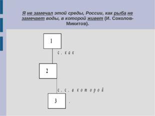 Я не замечал этой среды, России, как рыба не замечает воды, в которой живет (