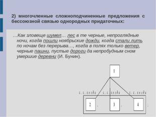 2) многочленные сложноподчиненные предложения с бессоюзной связью однородных