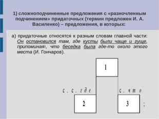 1) сложноподчиненные предложения с «разночленным подчинением» придаточных (те