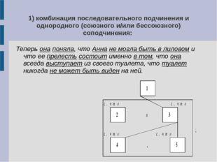 1) комбинация последовательного подчинения и однородного (союзного и/или бесс