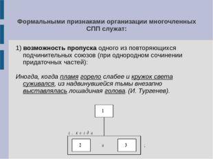 Формальными признаками организации многочленных СПП служат: 1) возможность пр