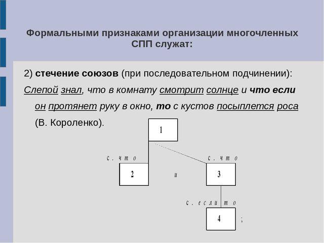 Формальными признаками организации многочленных СПП служат: 2) стечение союзо...