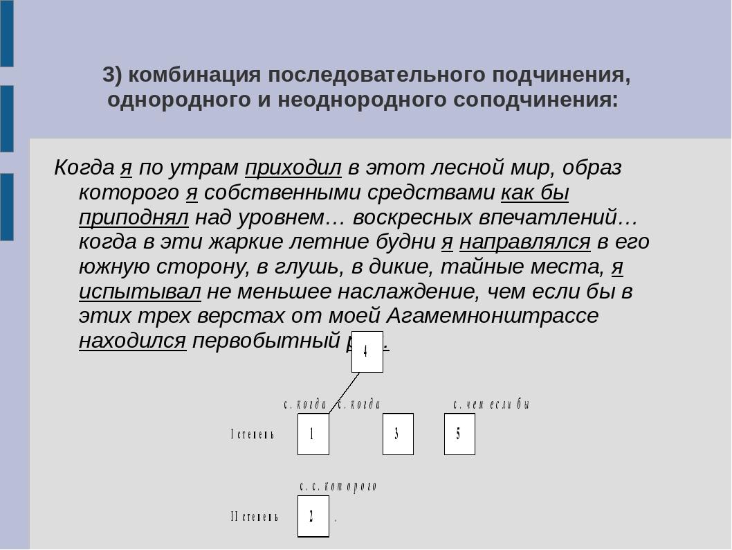 3) комбинация последовательного подчинения, однородного и неоднородного сопод...