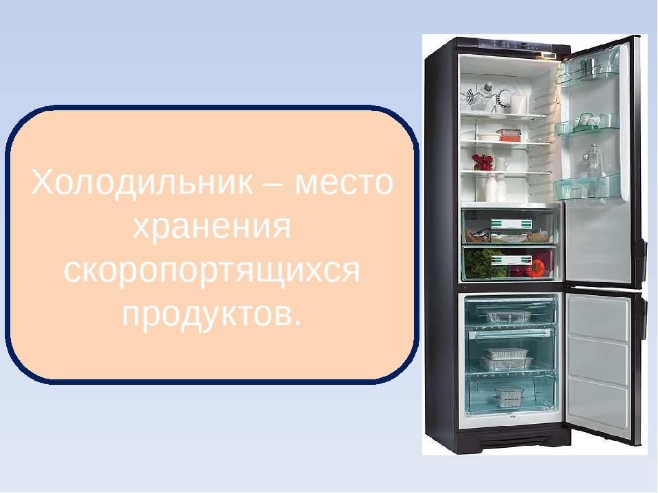 Холодильник – место хранения скоропортящихся продуктов.
