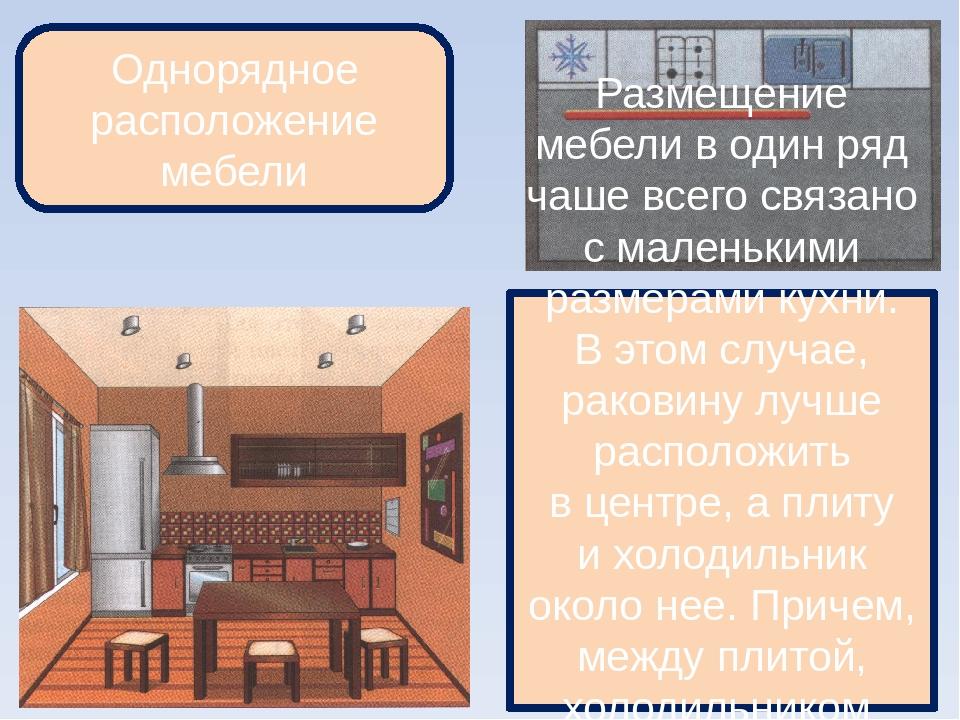 Однорядное расположение мебели Размещение мебели водин ряд чаше всего связа...