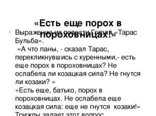 «Есть еще порох в пороховницах!» Выражение из повести Гоголя «Тарас Бульба».