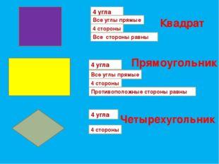 4 угла Все углы прямые 4 стороны Противоположные стороны равны 4 угла Все угл