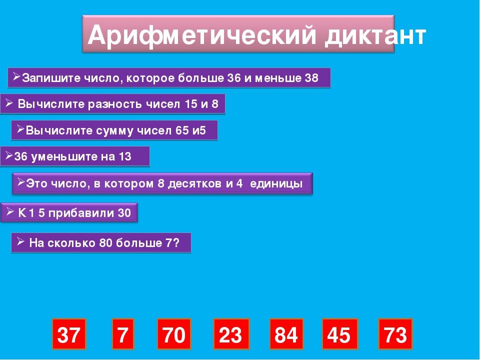 Запишите число, которое больше 36 и меньше 38 Вычислите разность чисел 15 и 8...