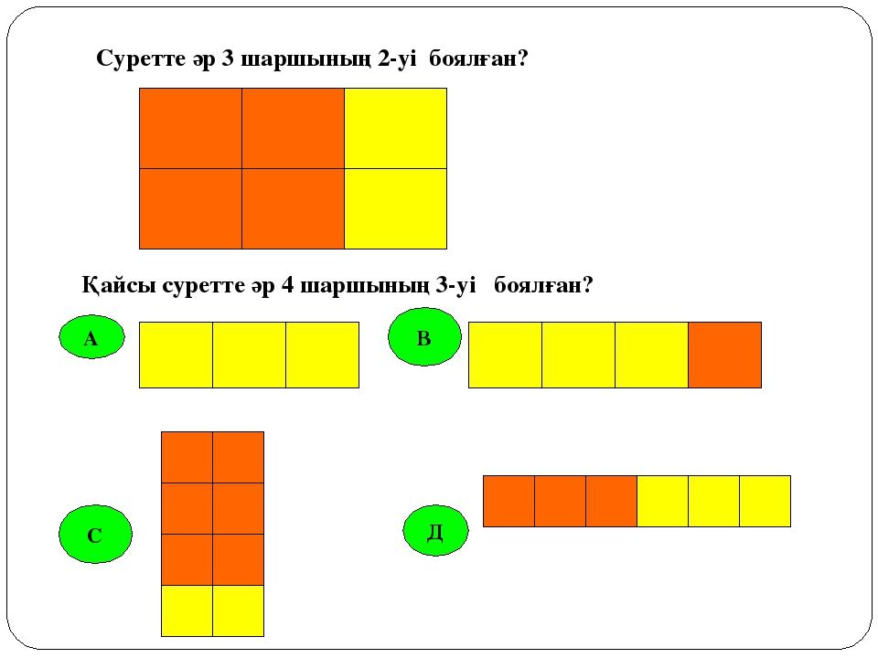 А В С Д Суретте әр 3 шаршының 2-уі боялған? Қайсы суретте әр 4 шаршының 3-уі...