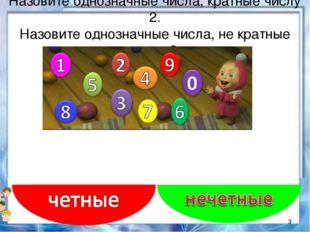 Назовите однозначные числа, кратные числу 2. Назовите однозначные числа, не к