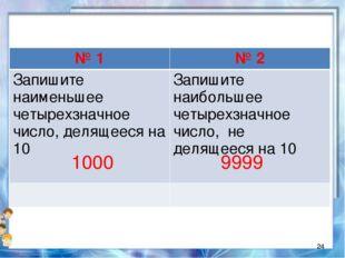 1000 9999 * № 1№ 2 Запишите наименьшее четырехзначное число, делящееся на 10