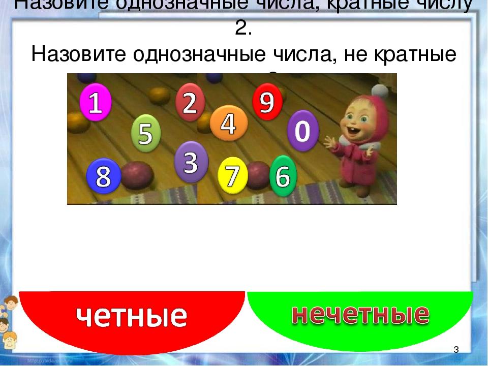 Назовите однозначные числа, кратные числу 2. Назовите однозначные числа, не к...