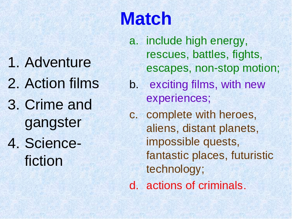 Match Adventure Action films Crime and gangster Science-fiction include high...